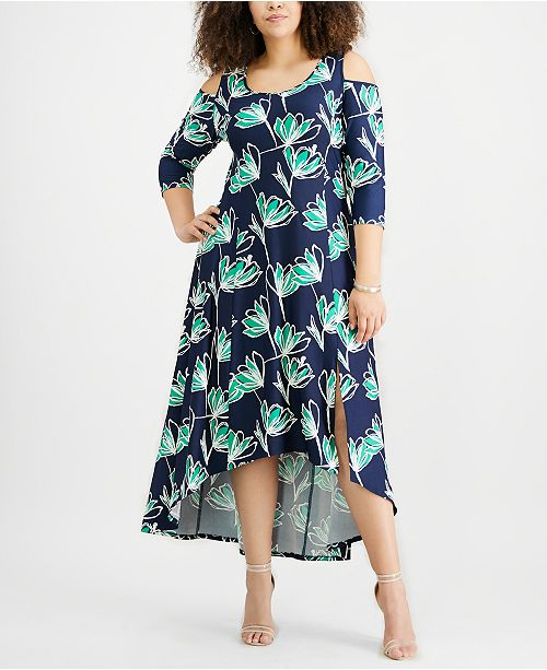 924920591b94e6 NY Collection Plus Size Cold-Shoulder High-Low Dress   Reviews ...