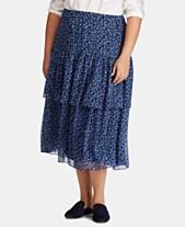 b07af70fb5f Lauren Ralph Lauren Plus Size Tiered Floral-Print Skirt