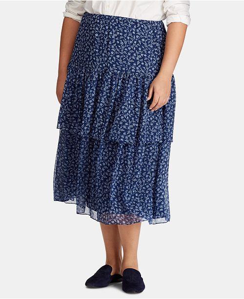 Lauren Ralph Lauren Plus Size Tiered Floral-Print Skirt
