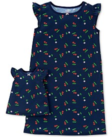 Carter's Little & Big Girls 2-Pc. Cherry-Print Nightgown & Doll Nightgown