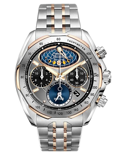 Men's Eco-Drive Chronograph Signature Moon Phase Flyback Two Tone Stainless Steel Bracelet Watch 44mm AV3006-50H