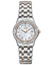 Citizen Women's Eco-Drive Signature Quattro Diamond (1/2 ct. t.w.) Two Tone Stainless Steel Bracelet Watch 29mm EW2066-58D
