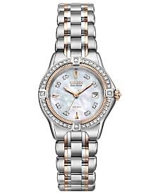 Citizen Women's Eco-Drive Signature Quattro Diamond (1/2 ct. t.w.) Two Tone Stainless Steel Bracelet Watch 29mm EW2066-58D