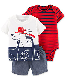 Carter's Baby Boys 3-Pc. Striped Cotton Bodysuit, Dog-Print T-Shirt and Chambray Shorts Set