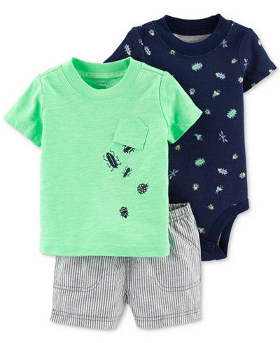 Carter's Baby Boys Bug-Print Cotton Bodysuit, T-Shirt & Shorts Set
