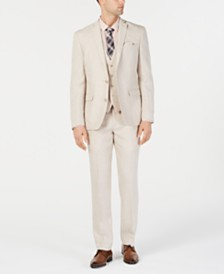 Bar III Men's Slim-Fit Linen Tan Suit Separates, Created for Macy's
