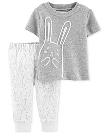 Carter's Baby Girls or Baby Boys 2-Pc. Bunny Rabbit Cotton Top & Pants Set