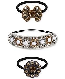 Deepa Two-Tone 3-Pc. Set Crystal, Stone & Braided Cotton Ponytail Ties