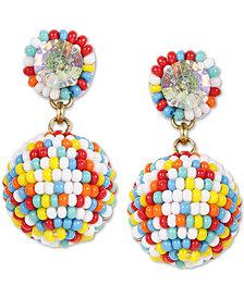 Deepa Crystal & Beaded Ball Drop Earrings