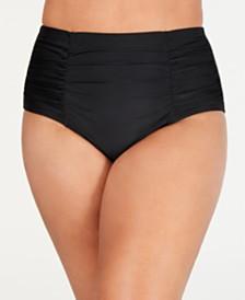 Island Escape Plus Size High-Waist Bikini Bottoms, Created for Macy's