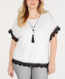 Alfred Dunner Plus Size Native New Yorker Crochet-Trim Top
