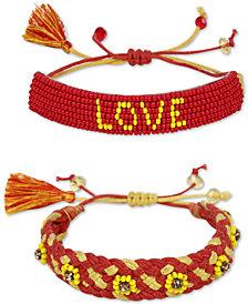 Deepa 2-Pc. Crystal & Bead Love and Flower Friendship Slider Bracelet Set
