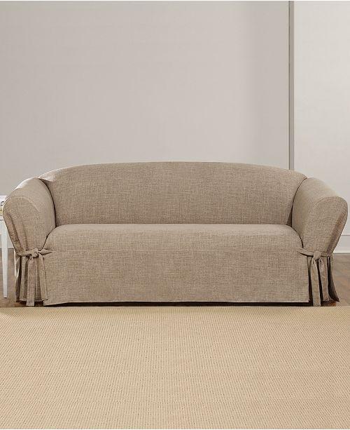 Textured Linen 1 Piece Sofa Slipcover