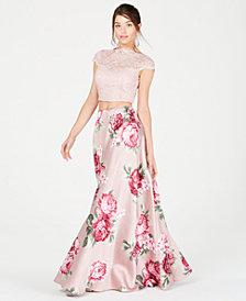 City Studios Juniors' Short-Sleeve Lace Top & Floral Skirt