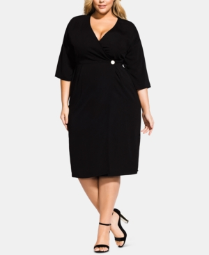 City Chic Dresses TRENDY PLUS SIZE CARMEN WRAP DRESS