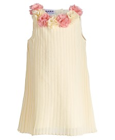 Blueberi Boulevard Baby Girls Pleated Rosette Dress