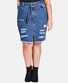 Trendy Plus Size Cotton Ripped Denim Skirt