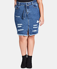 City Chic Trendy Plus Size Cotton Ripped Denim Skirt