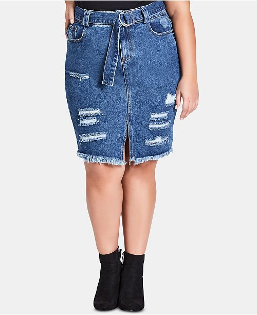 City Chic Trendy Plus Size Cotton Ripped Denim Skirt
