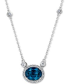 """Blue Topaz (2 ct. t.w.) & White Topaz (1-1/5 ct. t.w.) 18"""" Pendant Necklace in Sterling Silver"""
