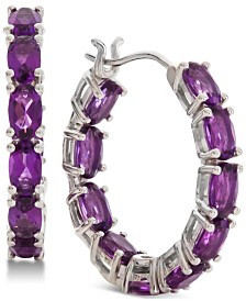 Amethyst (1/3 ct. t.w.) Hoop Earrings in Sterling Silver