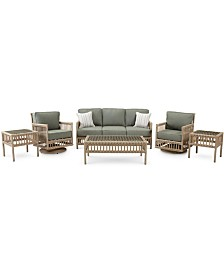 Lavena Outdoor 6-Pc. Seating Set (1 Sofa, 2 Swivel Chairs, 1 Coffee Table & 2 End Tables) with Sunbrella® Cushions, Created for Macy's