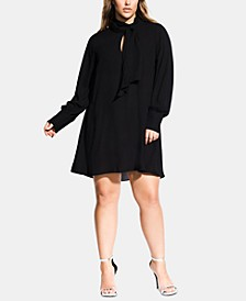 Trendy Plus Size Tie-Neck Tunic