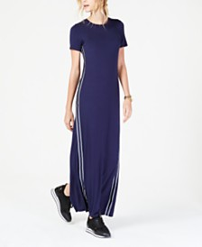 0b8798f347ef MICHAEL Michael Kors MKGO Stripe-Tape Seamed Maxi Dress