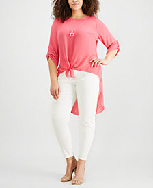 NY Collection Plus Size High-Low Necklace Top