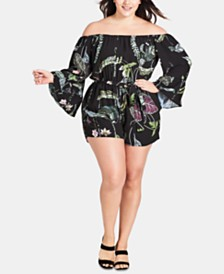 City Chic Trendy Plus Size Lily Pad Romper