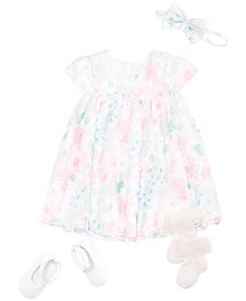 First Impressions Baby Girls Floral Rosette Dress, Headband, Socks & Shoes Separates, Created for Macy's