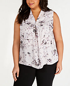 Bar III Plus Size Floral-Print Pleated Top, Created for Macy's