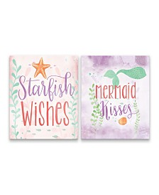 Starfish Wishes and Mermaid Kisses Printed Canvas - Set of 2