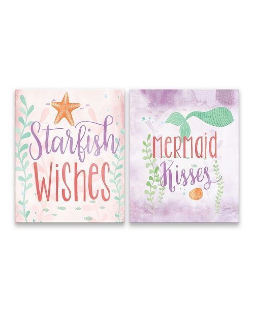 Artissimo Designs Starfish Wishes and Mermaid Kisses Printed Canvas - Set of 2