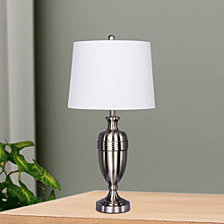 """Fangio Lighting's 1590BS Pair of 29.25"""" Brushed Steel Decorative Table Lamps"""