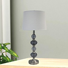 """1592 31"""" Stacked Brushed Steel Glass Table Lamp"""