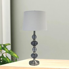 """Fangio Lighting's 1592 31"""" Stacked Brushed Steel Glass Table Lamp"""