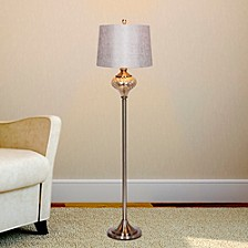 "1595 61.5"" Brushed Steel And Mercury Glass Font Floor Lamp"