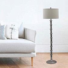 "Fangio Lighting's 1597AS 63"" Antique Metal Stacked Floor Lamp"