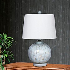 "6254BLU 24"" Weathered Round Resin Table Lamp"