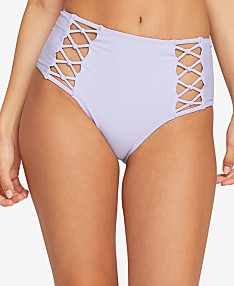 07635ad22c25 Volcom Juniors' Simply Solid Retro Strappy High-Waist Bikini Bottoms