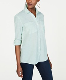 MICHAEL Michael Kors Striped Button-Up Top