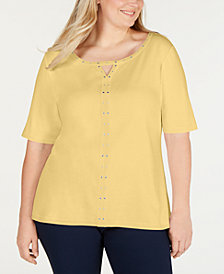 Karen Scott Plus Size Cotton Studded T-Shirt, Created for Macy's