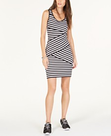 MICHAEL Michael Kors Striped Crossover Dress, Regular & Petite