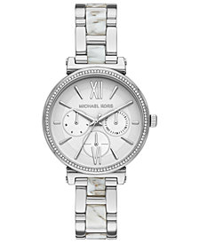 Michael Kors Women's Sofie Stainless Steel & White Acetate Bracelet Watch 36mm