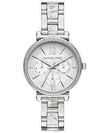 Michael Kors Women's Sofie Stainless Steel & White Acetate Bracelet Watch 36mm
