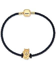Cat Charm Leather Bracelet in 22k Gold
