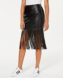 ARTISTIX Fringe-Trim Faux-Leather Skirt