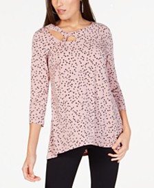 Alfani Printed Knot-Detail Top, Created for Macy's