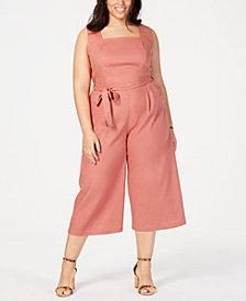 Monteau Trendy Plus Size Square-Neck Cropped Jumpsuit